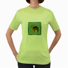 Cute Bunny Womens  T Shirt (green) by mysticalimages