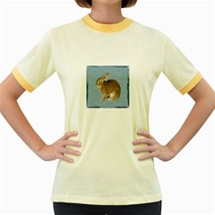 Cute Bunny Womens  Ringer T Shirt (colored) by mysticalimages