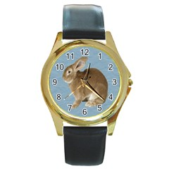 Cute Bunny Round Metal Watch (gold Rim)  by mysticalimages