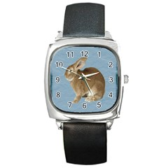 Cute Bunny Square Leather Watch by mysticalimages