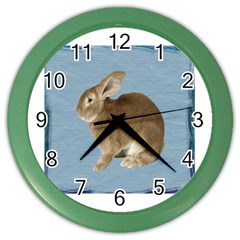 Cute Bunny Wall Clock (color) by mysticalimages