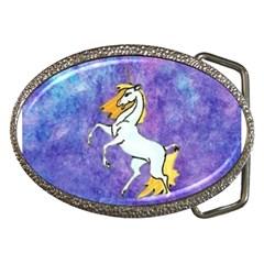 Unicorn Ii Belt Buckle (oval) by mysticalimages