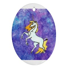 Unicorn Ii Oval Ornament (two Sides) by mysticalimages
