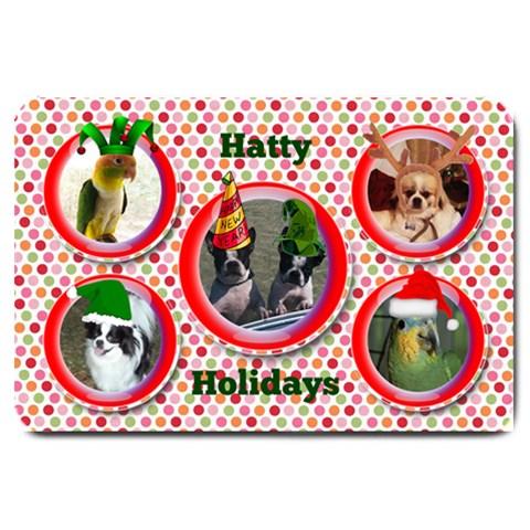 Hatty Holidays Large Doormat By Joy Johns   Large Doormat   I5e8py7jrf7b   Www Artscow Com 30 x20 Door Mat - 1