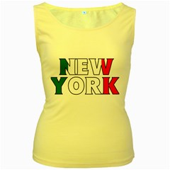 New York Italy Womens  Tank Top (Yellow)