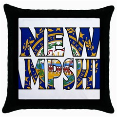 New Hampshire Black Throw Pillow Case by worldbanners