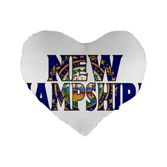 New Hampshire 16  Premium Heart Shape Cushion  by worldbanners