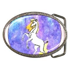 Framed Unicorn Belt Buckle (oval) by mysticalimages