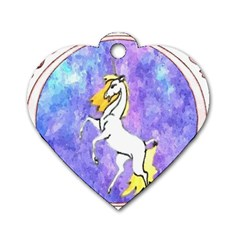 Framed Unicorn Dog Tag Heart (two Sided) by mysticalimages