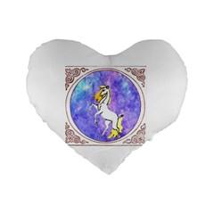 Framed Unicorn 16  Premium Heart Shape Cushion  by mysticalimages