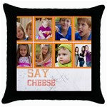 kids, father, family, fun - Throw Pillow Case (Black)