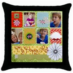 kids, family, fun - Throw Pillow Case (Black)