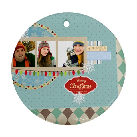 Merry Christmas By Merry Christmas   Ornament (round)   Icm1bf8wxhcc   Www Artscow Com Front