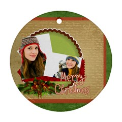 Merry Christmas By Merry Christmas   Round Ornament (two Sides)   Ev4z6nvroc42   Www Artscow Com Front