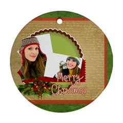Merry Christmas By Merry Christmas   Round Ornament (two Sides)   19wdlnkywgfd   Www Artscow Com Front