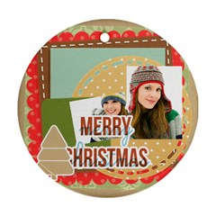 Merry Christmas By Merry Christmas   Round Ornament (two Sides)   8vzweyuh5rhf   Www Artscow Com Front