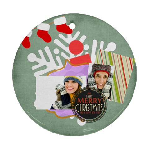 Merry Christmas By Merry Christmas   Ornament (round)   163xqbdnufu9   Www Artscow Com Front
