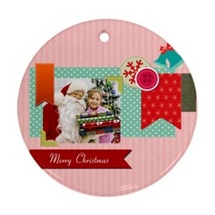Merry Christmas By Merry Christmas   Round Ornament (two Sides)   Cuc5ttix0guy   Www Artscow Com Back