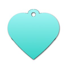 Celeste To Turquoise Gradient Dog Tag Heart (one Sided)  by BestCustomGiftsForYou