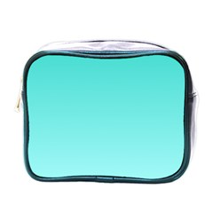 Turquoise To Celeste Gradient Mini Travel Toiletry Bag (one Side) by BestCustomGiftsForYou