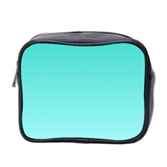 Turquoise To Celeste Gradient Mini Travel Toiletry Bag (two Sides) by BestCustomGiftsForYou