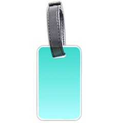 Turquoise To Celeste Gradient Luggage Tag (one Side) by BestCustomGiftsForYou