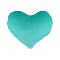 Turquoise To Celeste Gradient 16  Premium Heart Shape Cushion  by BestCustomGiftsForYou
