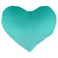 Turquoise To Celeste Gradient 19  Premium Heart Shape Cushion by BestCustomGiftsForYou