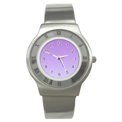 Lavender To Pale Lavender Gradient Stainless Steel Watch (unisex) by BestCustomGiftsForYou