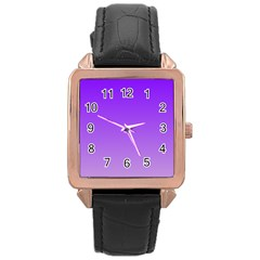 Violet To Wisteria Gradient Rose Gold Leather Watch  by BestCustomGiftsForYou
