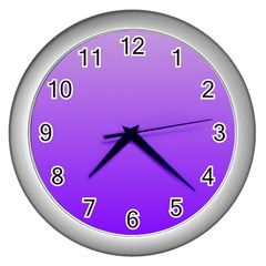 Wisteria To Violet Gradient Wall Clock (silver) by BestCustomGiftsForYou