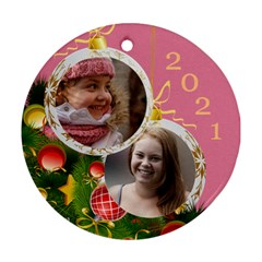 Merry Christmas Round Ornament (2 Sided) By Deborah   Round Ornament (two Sides)   Frrjwyout11w   Www Artscow Com Front