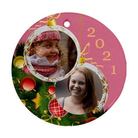 Merry Christmas Round Ornament By Deborah   Ornament (round)   Mgm7ewif1no8   Www Artscow Com Front