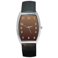 Chamoisee To Seal Brown Gradient Tonneau Leather Watch by BestCustomGiftsForYou
