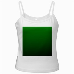 Green To Dark Green Gradient White Spaghetti Tank by BestCustomGiftsForYou
