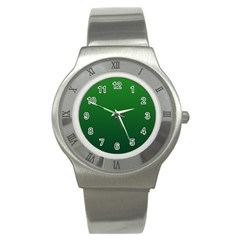 Green To Dark Green Gradient Stainless Steel Watch (unisex) by BestCustomGiftsForYou