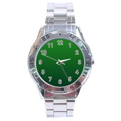 Green To Dark Green Gradient Stainless Steel Watch (men s)