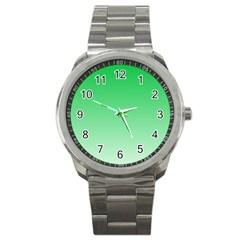 Dark Pastel Green To Pastel Green Gradient Sport Metal Watch by BestCustomGiftsForYou
