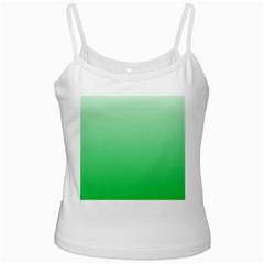 Pastel Green To Dark Pastel Green Gradient White Spaghetti Tank by BestCustomGiftsForYou