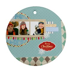 Merry Christmas By Merry Christmas   Round Ornament (two Sides)   2tu9ohcf11nq   Www Artscow Com Front