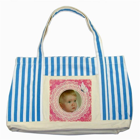 Little Angel Striped Blue Tote Bag By Deborah   Striped Blue Tote Bag   U0ir3z9axwqi   Www Artscow Com Front