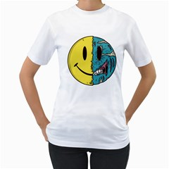 Smiley Two Face Womens  T-shirt (White) by Contest1714880
