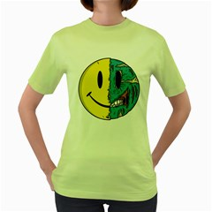 Smiley Two Face Womens  T-shirt (Green) by Contest1714880