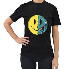 Smiley Two Face Womens' Two Sided T Shirt (black) by Contest1714880