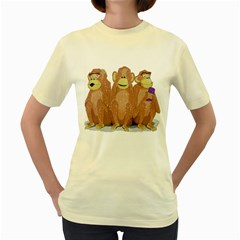 monkeys, as usual.  Womens  T-shirt (Yellow) by Contest1714697