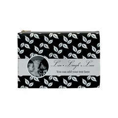 Cosmetic Bag (m)   B/w Live Laugh Love By Jennyl   Cosmetic Bag (medium)   Cx9h0lvwvw1e   Www Artscow Com Front