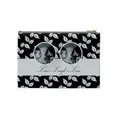 Cosmetic Bag (m)   B/w Live Laugh Love By Jennyl   Cosmetic Bag (medium)   Cx9h0lvwvw1e   Www Artscow Com Back