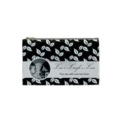 Cosmetic Bag (s)   B/w   Live Laugh Love By Jennyl   Cosmetic Bag (small)   X5b5y44saojw   Www Artscow Com Front