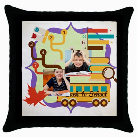 Graduation, School Life By School   Throw Pillow Case (black)   Dsaqb9s9ed8i   Www Artscow Com Front