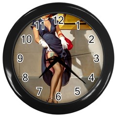 Retro Pin Up Girl Wall Clock (black) by PinUpGallery